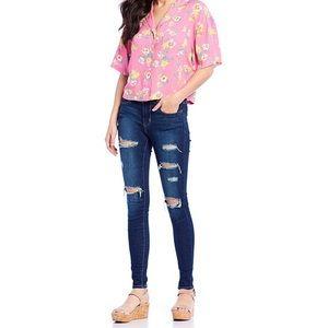 Levi's 710 Super Skinny Mid Rise Distressed Jeans